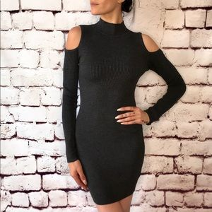 Fora charcoal ribbed sweater open shoulder dress S